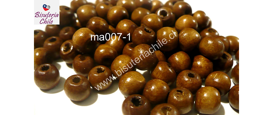 Cuenta de madera color madera 8 mm, bolsa de 25 grs. , 150 cuentas aprox