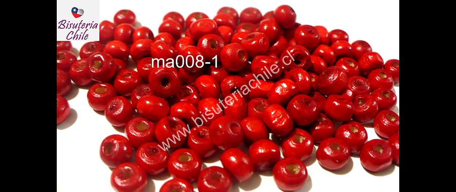 Cuenta de madera color rojo 6 mm, bolsa de 25 grs.