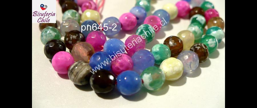 Agata 6 mm, multicolor celestes, rosados , verdes y amarillos, tira de 63 piedras aprox