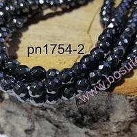 Hematite facetada 6 mm en color negro, tira de 64 piedras aprox.