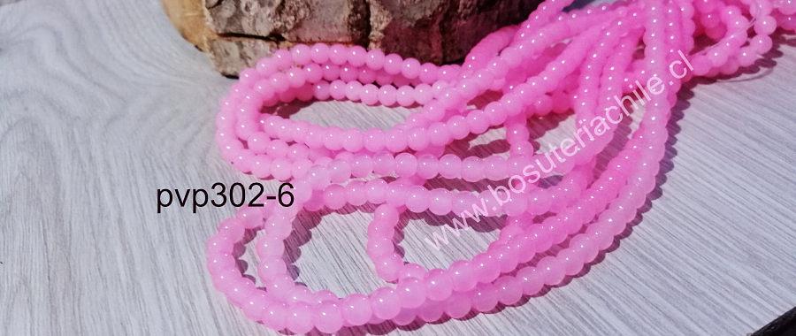 Perla de vidrio color rosado de 6 mm, tira de 72 perlas aprox