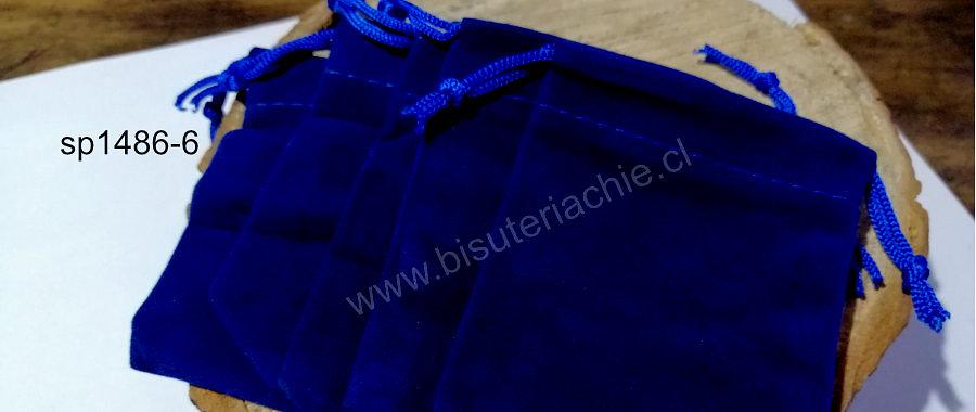 Bolsa de terciopelo azul, 90 x 65 mm, set de 5 unidades