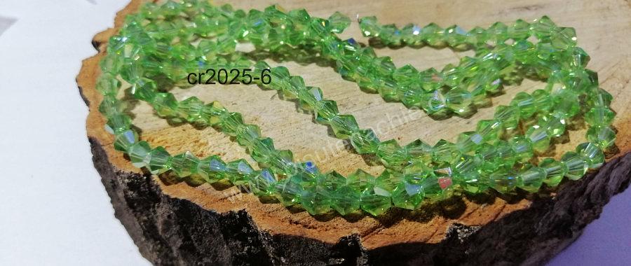 Cristal tupi 6 mm verde tornasol, tira de 45 cristales aprox.