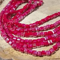 Cristal cuadrado de 4 mm, rojo tornasol, tira de 99 cristales