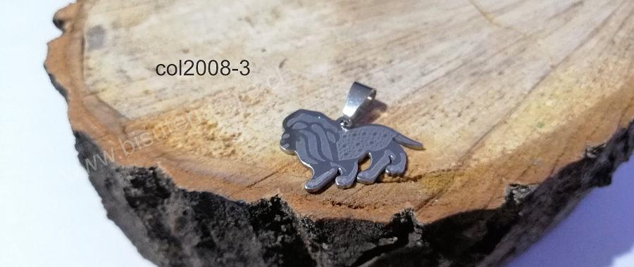 Colgante acero  en forma de león, 27 x 18 mm,, por unidad