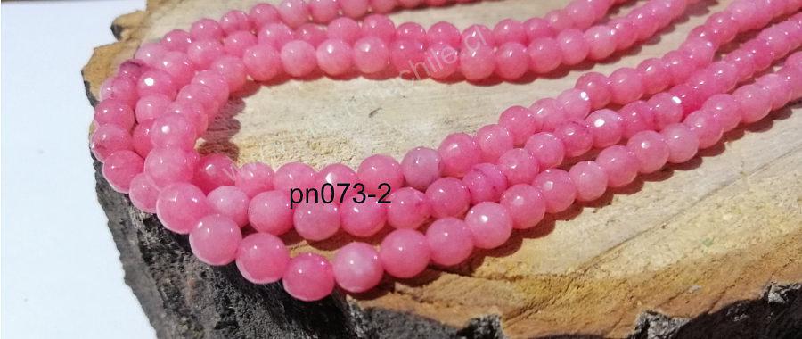 Agata facetada rosada clara 6 mm tira de 64 piedras aprox.