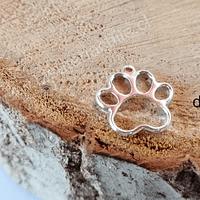 Dije baño de plata en forma de pata de perro, 16 x 16 mm, por unidad