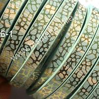 Cuero plano diseño en color menta y dorado, tira de 5 mm de ancho y 1,2 metros de largo