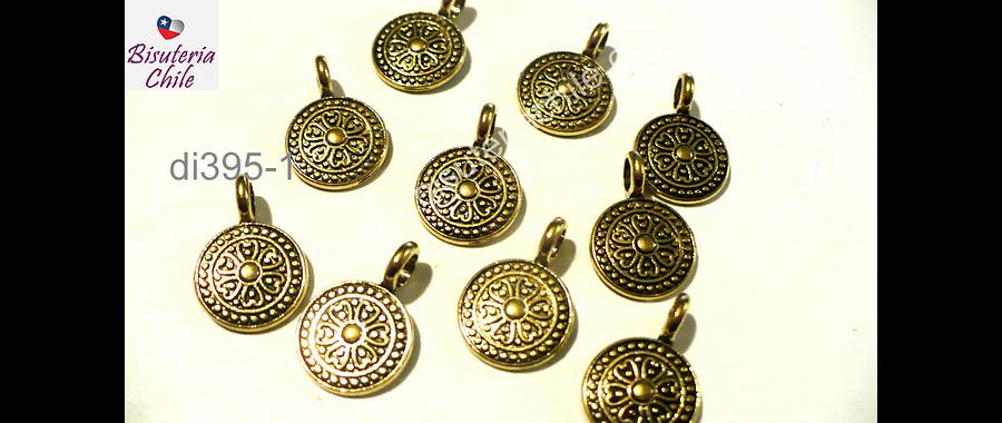 Dije dorado con diseño, 11 mm de diámetro, set de 8 unidades