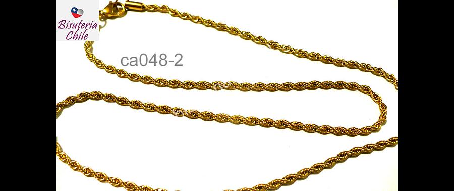 Collar acero inoxidable dorado 2,5 mm de ancho , 50 cm de largo