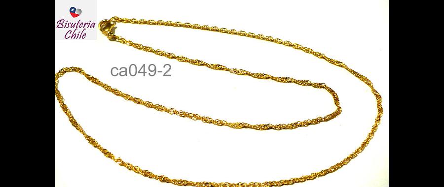 Collar acero inoxidable dorado 2 mm de ancho , 44 cm de largo
