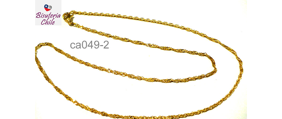 Collar acero inoxidable dorado 2 mm de ancho , 44 cm de largo