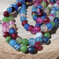 Agatas, Agata facetada multicolor de 6 mm, tira de 62 piedras aprox