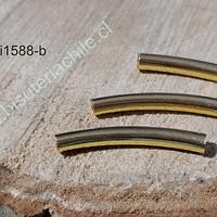 Separador baño de oro en forma de tubo, 28 mm de largo, 4 mm de ancho, set de 3 unidades
