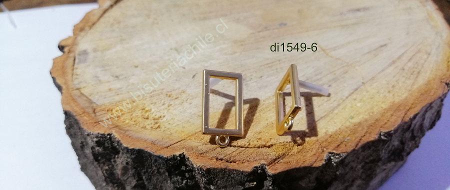 Base de aro baño de oro, 20 x 13 mm, por par
