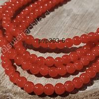 Perla de vidrio color naranja de 6 mm, tira de 72 perlas aprox