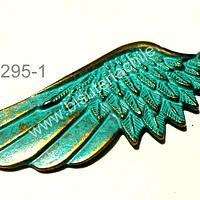 Colgante envejecido con toques color turquesa, en forma de ala, 55 mm de largo x 22 mm de ancho por unidad