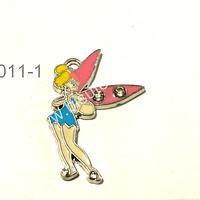 Dije esmaltado en forma de Timkerbell, en color celeste y rosa, 28 mm de largo por 20 mm de ancho, por unidad