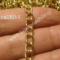 Cadena dorada, eslabón de 7 mm de largo por 5 mm de ancho, por metro