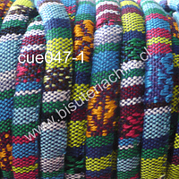 Cordón estilo étnico, en tonos celestes, verdes, 7 mm de ancho, tira de 1 metro