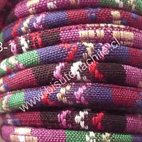 Cordón estilo étnico, en tonos burdeos, rosados, verdes, 7 mm de ancho, tira de 1 metro