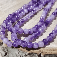 agata en tonos lilas en 6 mm, tira de 63 piedras aprox