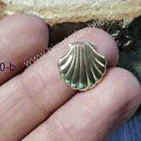 Dije conchita de mar baño de oro 14 x 15 mm, por unidad