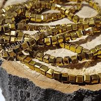 Cristal cuadrado de 4 mm, dorado, tira de 99 cristales