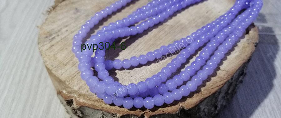 Perla de vidrio color celeste de 6 mm, tira de 72 perlas aprox