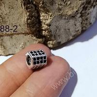 Separador zirconita plateada con cristales negros, excelente calidad, 7 x 9, agujero de 5 mm, por unidad