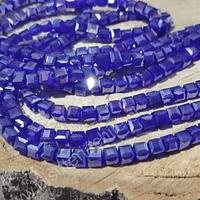 Cristal cuadrado de 4 mm, azul, tira de 99 cristales
