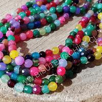 Agatas, agata en tonos multicolor en 4 mm, tira de 90 piedras aprox