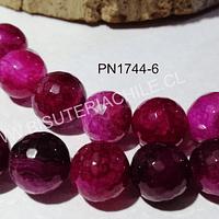 Agatas, Agata Multicolor tonos fucsia, 14 mm de diámetro tira de 13 piedras aprox