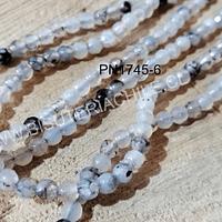 Agatas, Agata de 4 mm, en tonos grises, 88 piedras aprox