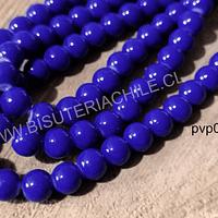 Perla de vidrio pintado 8 mm color azul tira de 54 unidades