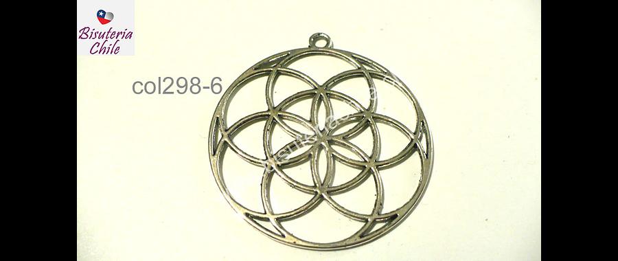 Colgante plateado tipo mandala, 44 mm de diámetro, por unidad