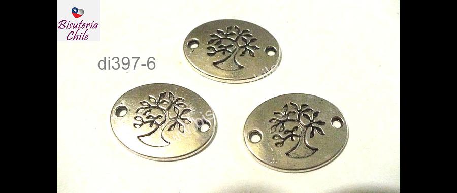 Dije doble conexión con árbol de la vida, 22 mm de lancho por 18 mm de largo, set de 3 unidades
