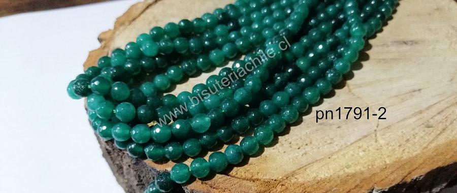 Agata 6 mm en tonos verde tira de 60 piedras aprox