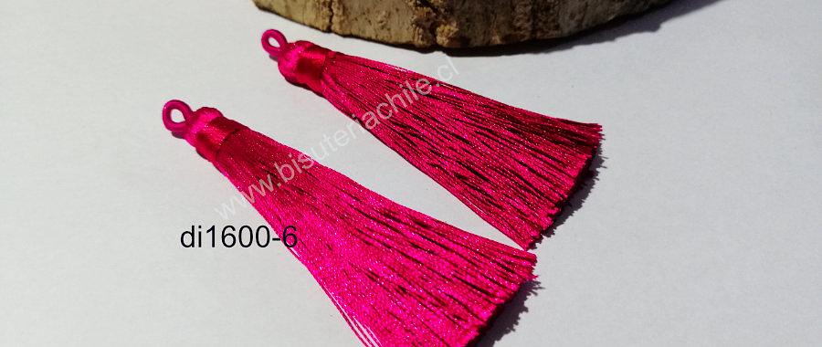 Borla gruesa 1era calidad, de hilo de seda, color fucsia , 7 cm de largo, set de dos unidades. San Valentin