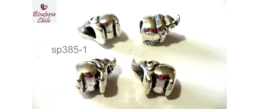 Separador plateado en forma de elefante, 9 mm de largo por 8 mm de alto, agujero de 5 mm, set de 4 unidades
