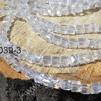 Cristal cuadrado de 4 mm, blanco transparente, tira de 99 cristales