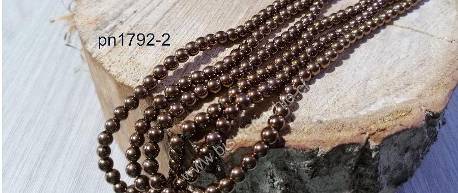 Hematite de 4 mm, en color cobre, tira de 95 piedras aprox