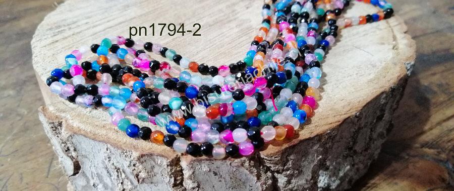 Agata de 4 mm, multicolor, 90 piedras aprox