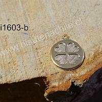 Dije Baño de oro, con trébol, 15 mm, de diámetro, por unidad