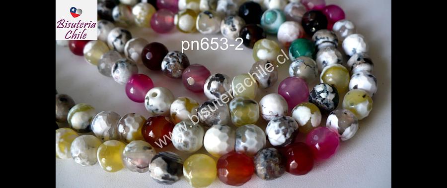 Agata jaspeada en tonos blancos, verdes, amarillos y rosados, 6 mm, tira de 64 piedras aprox