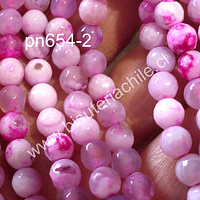Agata Jaspeada en tonos blancos y rosados, 6 mm, tira de 64 piedras aprox