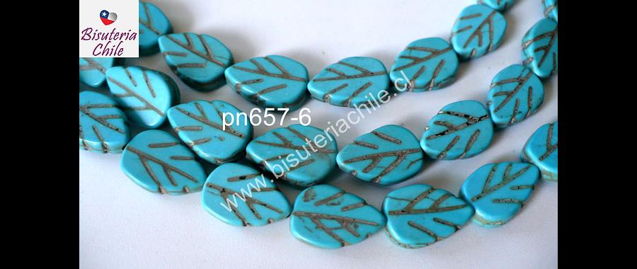 Turquesa en forma de hojas, 13 mm de largo por 9 mm de ancho, tira de 30 piedras aprox