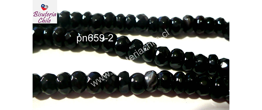 Agata facetada negra 6 mm achatada,  tira de 80 piedras aprox.