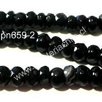 Agata facetada negra 6 mm achatada,  tira de 85 piedras aprox.