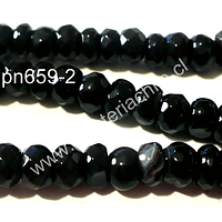 Agata facetada rondell en color negra, 8 x 4 mm, tira de 78 piedras aprox.